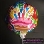 HBday Önfelfújó fólia lufi mini color pálcával 20cm