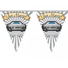 Just Married zászlófüzér kordon szalag Autó dekor- 1 m