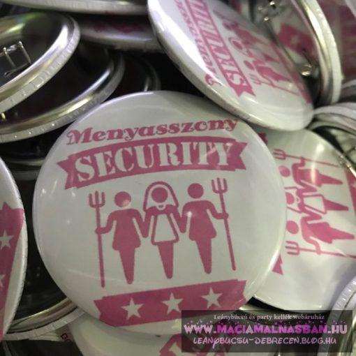 Jelvény/Kitűző Menyasszony Security PÁLCIKA fehér+pink
