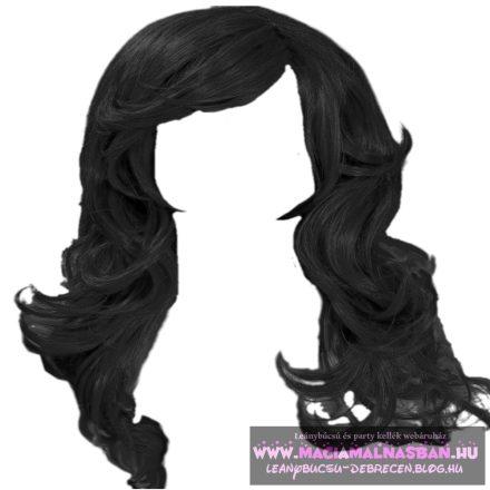 Paróka hosszú hullámos fekete 60cm