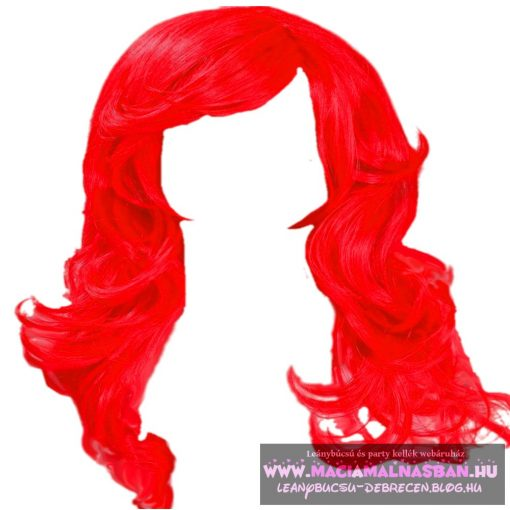 Paróka hosszú hullámos piros 60cm