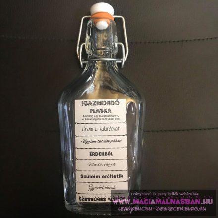 Igazmondó Flaska Hazugságvizsgáló csatos mércésüveg KÉTDECIS