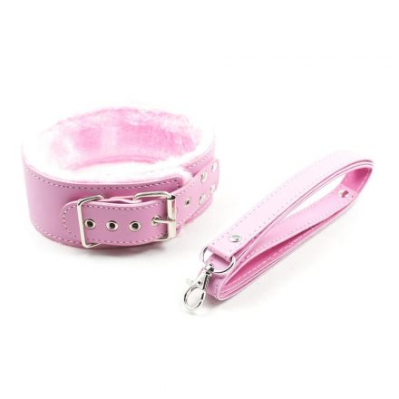 Miya Fétish nyakörv+póráz PINK rózsaszín