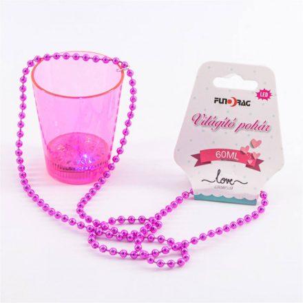 Nyakba akasztható pink világító pohár