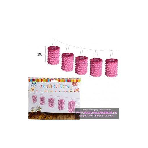 Party dekor Lampion függődísz Rózsaszín/Fehér pöttyös 4m