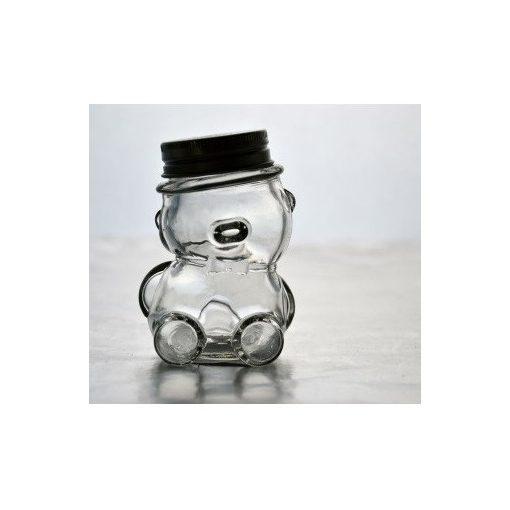 Maci formájú mini befőttes üveg tetővel