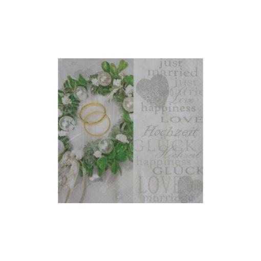 Esküvő Just married gyűrűs szalvéta 20db/cs