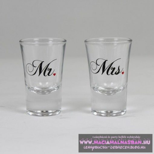 Mr & Mrs üveg pohár feles 2db/cs