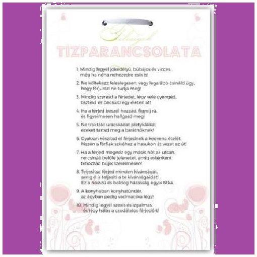 Ajándék tábla Feleségek tízparancsolata