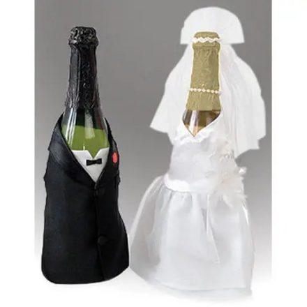 Esküvői pezsgősüveg ruha szett (2db/cs)