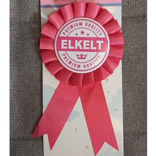 Rozettás kitűző ELKELT pink fehér