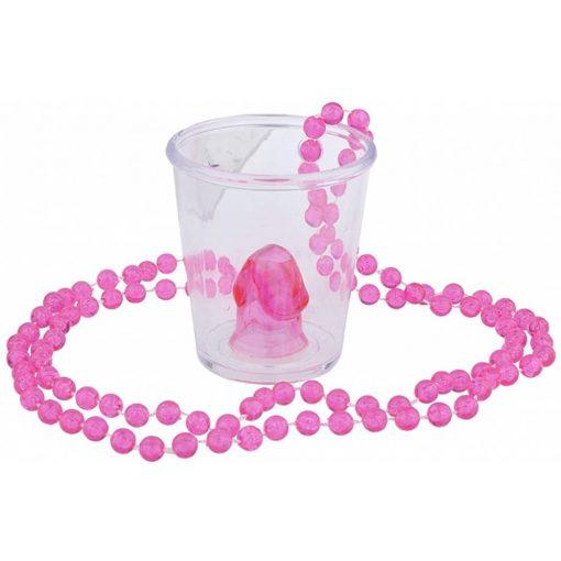 Nyakbapohár pink láncos benne pink fütyivel
