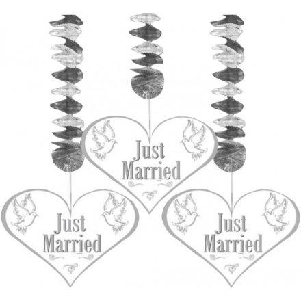 Esküvői függődekor JUST MARRIED fehér&ezüst 3db/cs