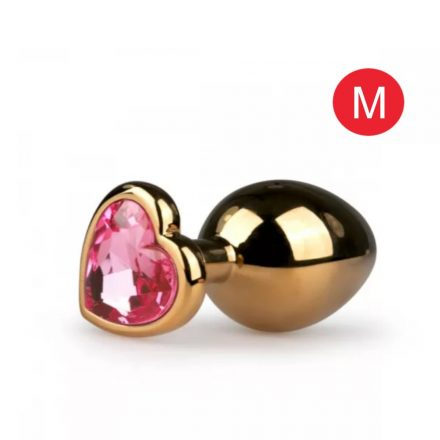 Pink köves szivecskés popsiékszer arany 3cm